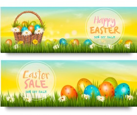 Easter sale discount banners vector 02