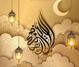 Eid mubarak golden background vectors