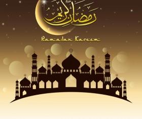 Eid ramadan mubarak golden background vectors 01