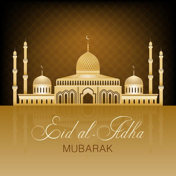 eid ramadan mubarak golden background vectors 02 free download