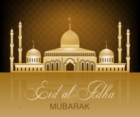 Eid ramadan mubarak golden background vectors 03