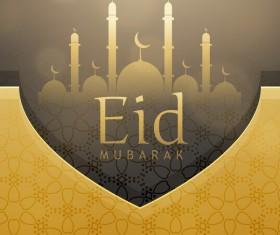 Eid ramadan mubarak golden background vectors 04