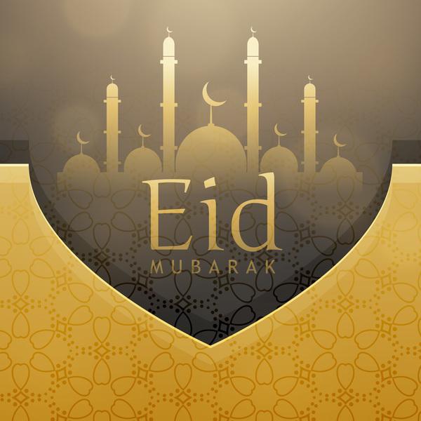 eid ramadan mubarak golden background vectors 04 free download