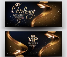 Elegant VIP invitation card with gold ribbons vector 02
