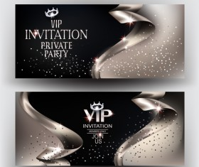 Elegant VIP invitation card with gold ribbons vector 03