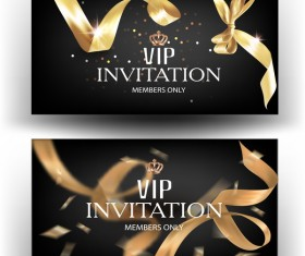 Elegant VIP invitation card with gold ribbons vector 04