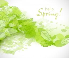 Elegant green leaves spring background vector 01