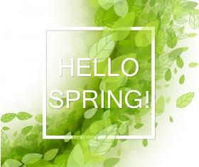 Elegant green leaves spring background vector 03