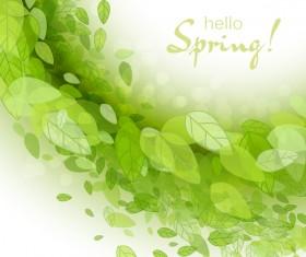 Elegant green leaves spring background vector 04