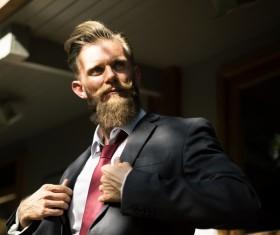 Elegant man with stylish beard Stock Photo