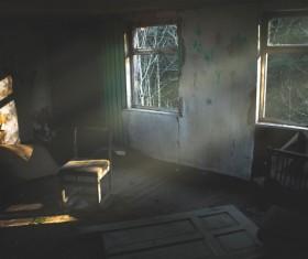 Empty abandoned old room Stock Photo