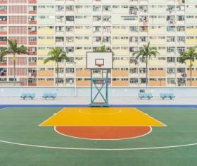 Empty basket ball court outdoor Stock Photo