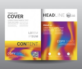 Fashion cover template for magazine with brochure vector 07