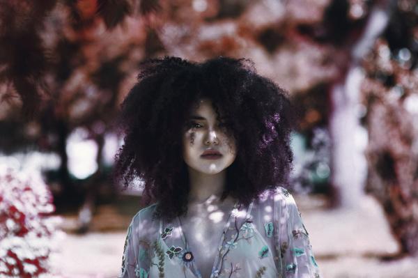 Fashion explosion hairstyle woman Stock Photo