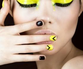 Fashion eye shadow and nail art Stock Photo