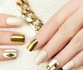 Fashion golden nail art Stock Photo