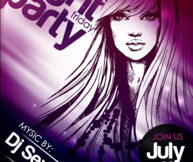 Fashion music party flyer template vectors 01