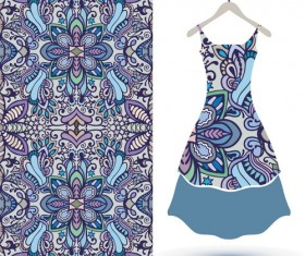 Fashion seamless fabric texture with women dress vectors 01