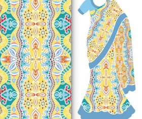 Fashion seamless fabric texture with women dress vectors 04
