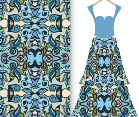 Fashion seamless fabric texture with women dress vectors 05