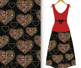 Fashion seamless fabric texture with women dress vectors 07