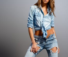 Fashion woman in jeans Stock Photo 02
