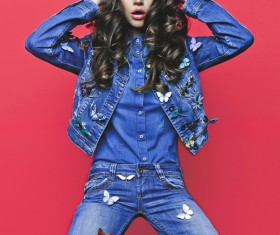Fashion woman in jeans Stock Photo 11