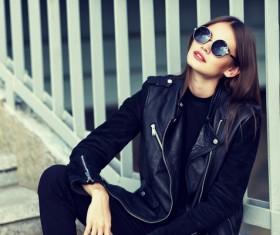 Fashionable girl wearing black costume Stock Photo 01