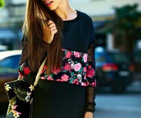 Fashionable girl wearing black costume Stock Photo 02