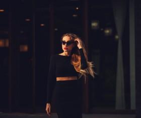 Fashionable girl wearing black costume Stock Photo 03