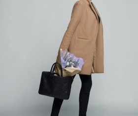 Fashionable woman receiving flowers Stock Photo 01