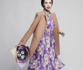 Fashionable woman receiving flowers Stock Photo 04