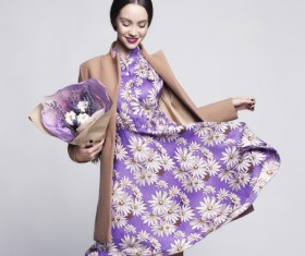 Fashionable woman receiving flowers Stock Photo 05