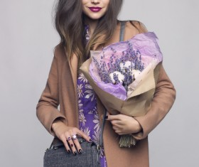 Fashionable woman receiving flowers Stock Photo 06