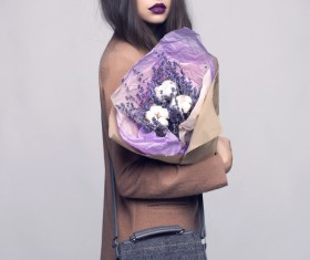 Fashionable woman receiving flowers Stock Photo 07