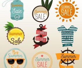 Flat summer holiday labels with badge vectors
