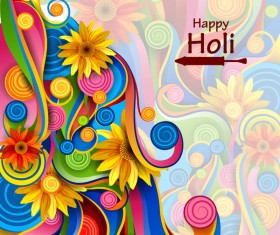 Floral decor with Holi frstival template vector