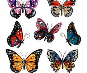Floral decorative butterflies design vector 01