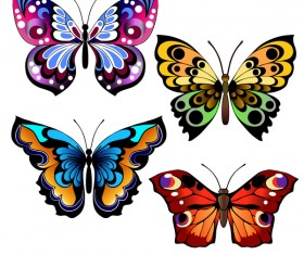 Floral decorative butterflies design vector 02