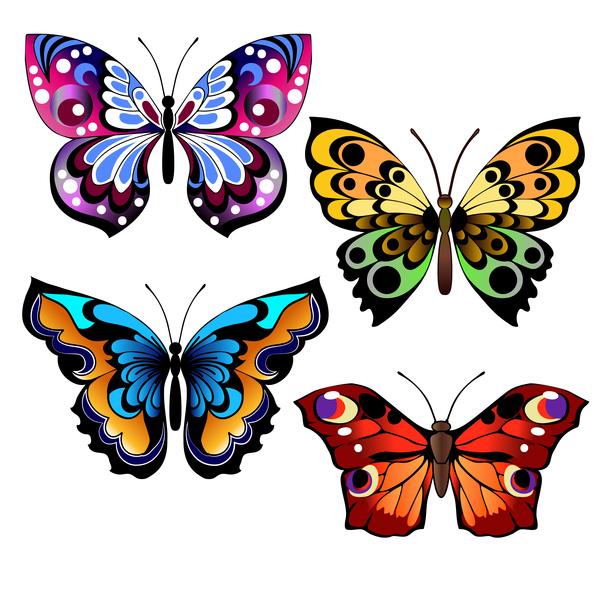Floral Decorative Butterflies Design Vector 02 Free Download