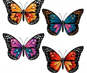 Floral decorative butterflies design vector 03