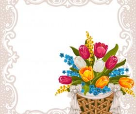 Flower basket and vintage frame vector