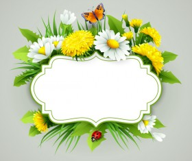 Flower label with gray background vectors 01