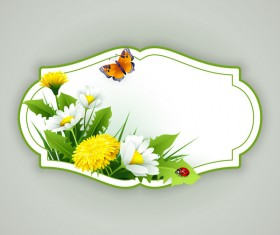 Flower label with gray background vectors 02