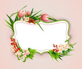 Flower label with pink background vectors 01