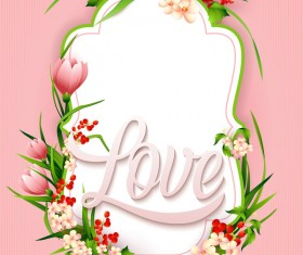 Flower label with pink background vectors 02