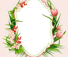 Flower label with pink background vectors 03
