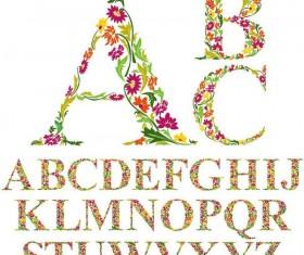 Flower with decor alphabet vector