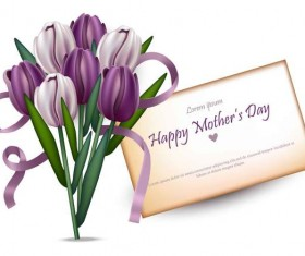 Flower with mother day postercard vector
