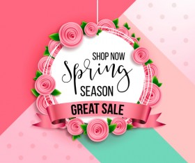 Flowerf sale label with spring background vector